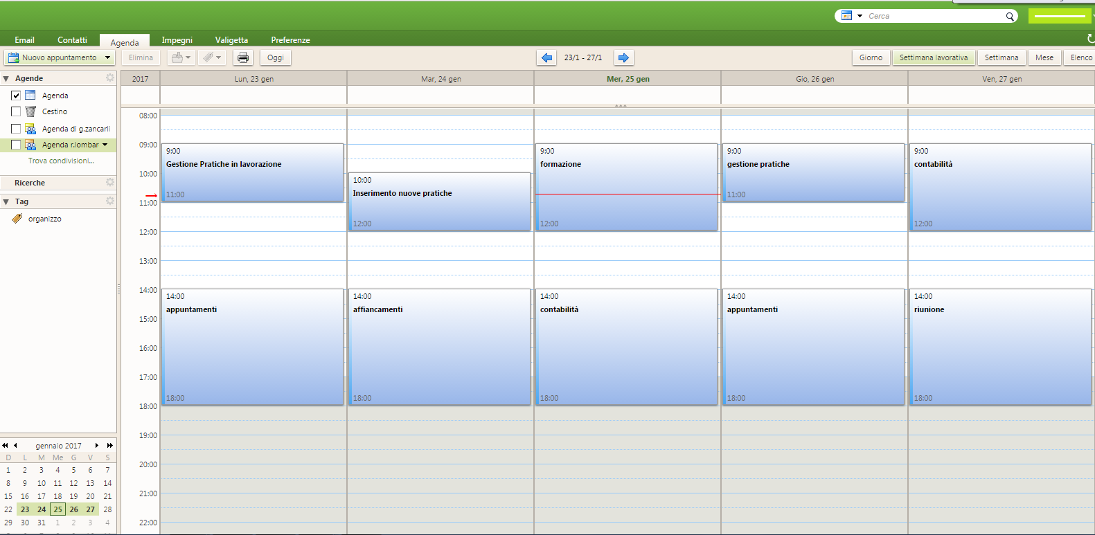 Programmazione settimanale del lavoro - agenda